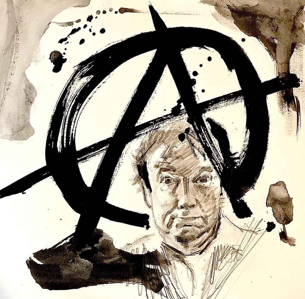 Anarchie et Graeber : dessin sépia à l'encre